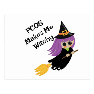 Postal Halloween PCOS me hace a Witchy
