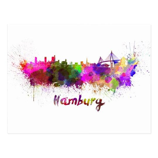 Postal Hamburg skyline in watercolor