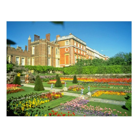 Postal Hampton Court rojo, flores de Surrey, Inglaterra