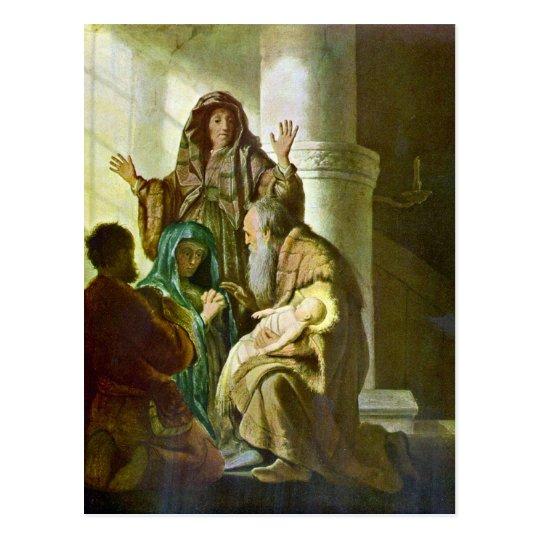 Postal Hannah y Simeon en el templo de Rembrandt