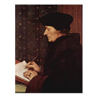 Postal Hans Holbein - retrato de Erasmo