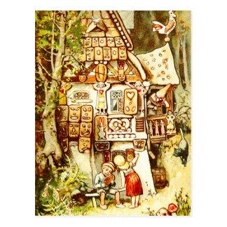 Postal Hansel y Gretel en la cabaña del pan de jengibre