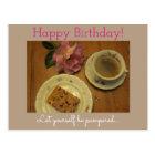 Postal Happy Birthday with Cake coffee & homemade cresa