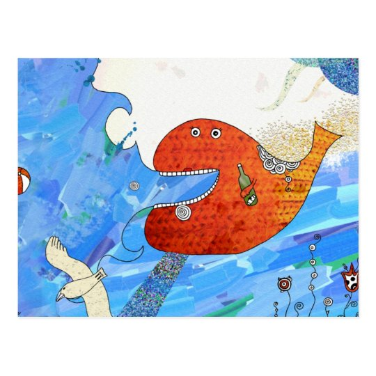 Postal Happy whale Postcard by Krize