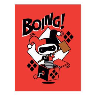 Postal Harley-Quinn-En-UNO-Box de Chibi con el martillo