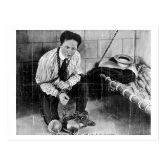 Postal Harry Houdini alrededor a escaparse de la prisión