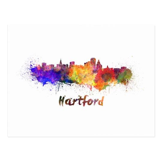 Postal Hartford skyline in watercolor