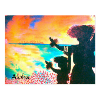 Postal hawaiana de Hula de la hawaiana