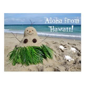 Postal Hawaiana del coco del muñeco de nieve del navidad
