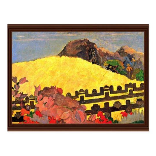 Postal Hay el templo (Parahi Te Marae) por Paul