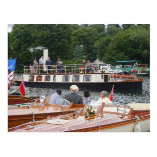 Postal Henley en Thames, yate clásico del vapor