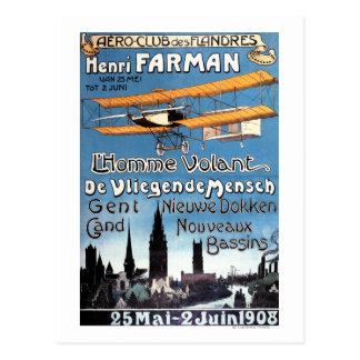 Postal Henry Farman vuela el poster del promo del hombre