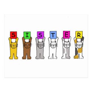 Postal Hermana del feliz cumpleaños con los gatos del