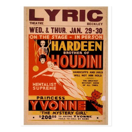 Postal Hermano de Hardeen de Houdini, 'el misterio Girl