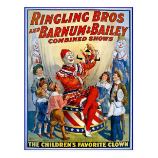 Postal Hermanos de Ringling y Barnum y payasos del