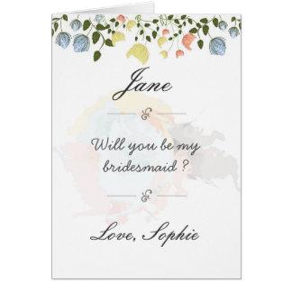 Postal hermosa de la dama de honor de la flor tarjeta de felicitación