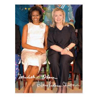 Postal Hillary Clinton y Micaela Obama