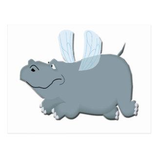 Postal Hipopótamo del vuelo