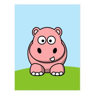 Postal Hipopótamo rosado lindo
