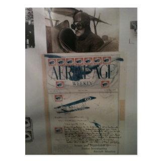 Postal Historia de la aviación de la letra del vintage