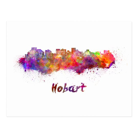 Postal Hobart skyline in watercolor