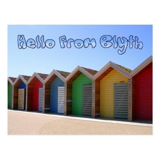 Postal Hola de chozas de la playa de Blyth Northumberland