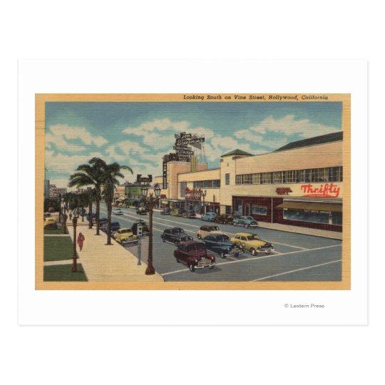 Postal Hollywood, CALooking del sur en la opinión de la