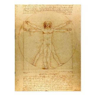 Postal Hombre de Leonardo da Vinci Vitruvian