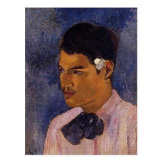 """Postal """"Hombre joven con una flor"""" - Paul Gauguin"""