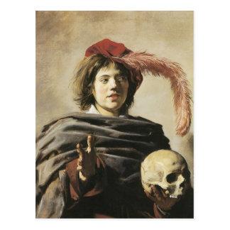Postal Hombre joven de Francisco Hals con el cráneo