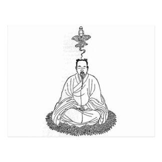 Postal Hombre que se sienta en actitud de la meditación