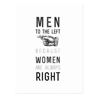Postal hombres a la izquierda porque las mujeres tienen