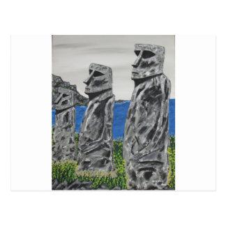 Postal Hombres de la piedra de la isla de pascua