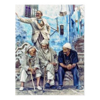 Postal Hombres de Marruecos - viaje de la África del