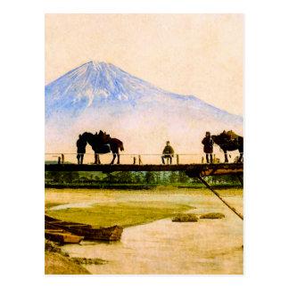 Postal Hombres y caballos en el puente debajo del vintage