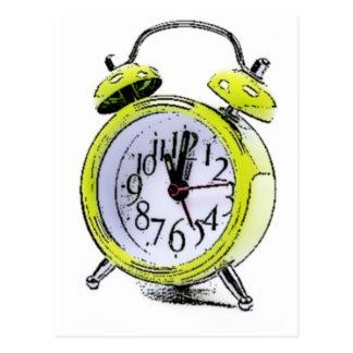 Postal Hora de despertar el dibujo amarillo del