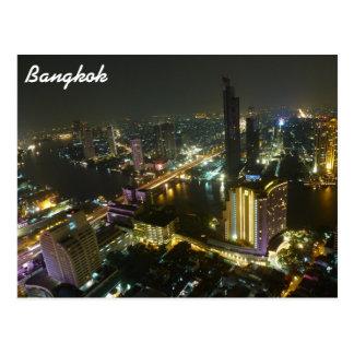 Postal Horizonte de Bangkok en la noche