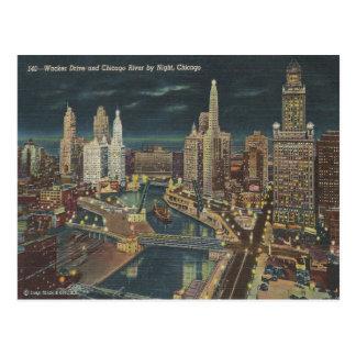 Postal Horizonte de la noche de Chicago del vintage