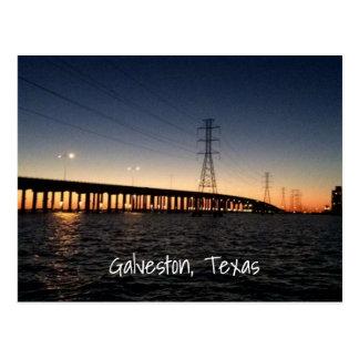 Postal Horizonte de la noche de Galveston