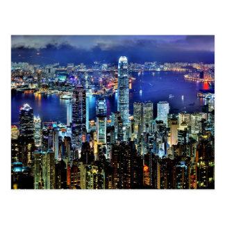 Postal Horizonte de la noche de Hong Kong