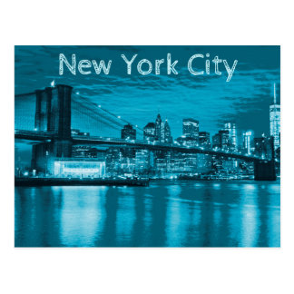 Postal Horizonte de New York City en azul