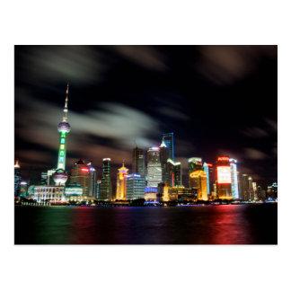 Postal Horizonte de Shangai por noche