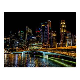 Postal Horizonte de Singapur, luces de la noche