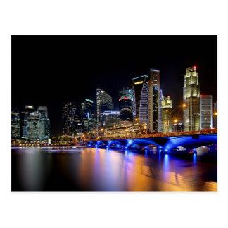 Postal Horizonte de Singapur y el puente de la explanada