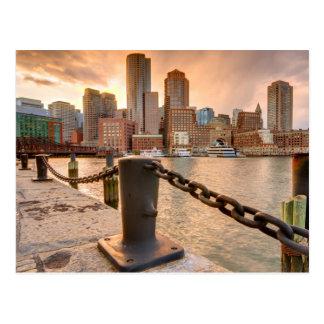 Postal Horizonte del distrito financiero de Boston