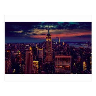 Postal Horizonte del ocaso de New York City