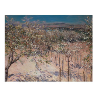 Postal Huerta con el florecimiento de los manzanos,