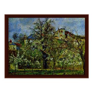 Postal Huerta de árboles florecientes de Pissarro Camilo
