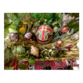 Postal Huevos de Pascua pintados a mano