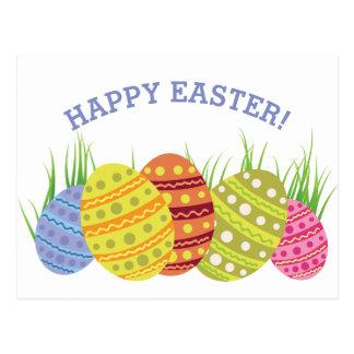 Postal Huevos de Pascua retros en la hierba